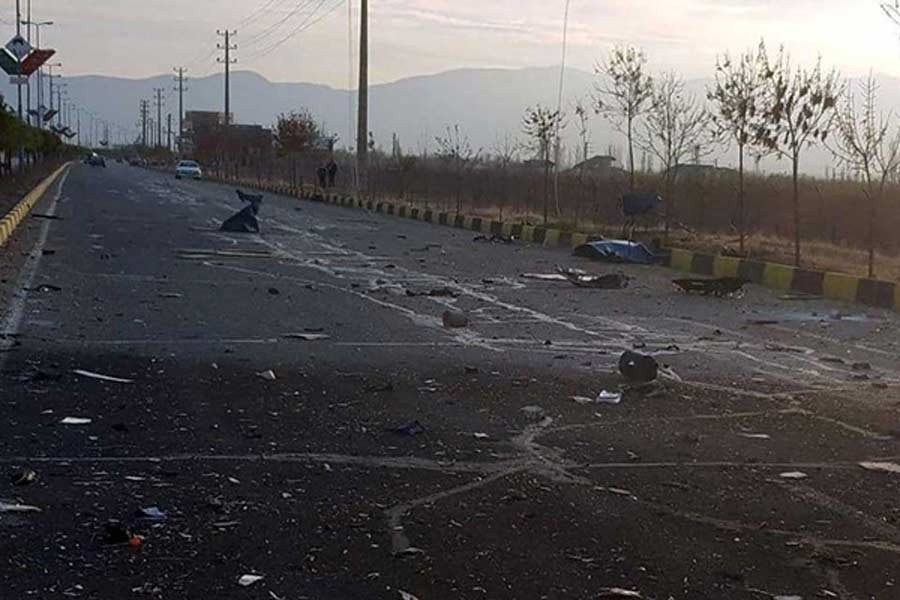 The site of the attack that killed prominent Iranian scientist Mohsen Fakhrizadeh, outside Tehran in Iran on Friday –Reuters file photo