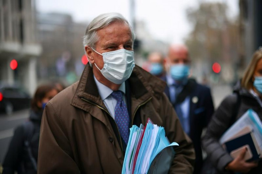 European Union's chief Brexit negotiator Michel Barnier wearing a protective face mask is seen in London, Britain, November 28, 2020 — Reuters