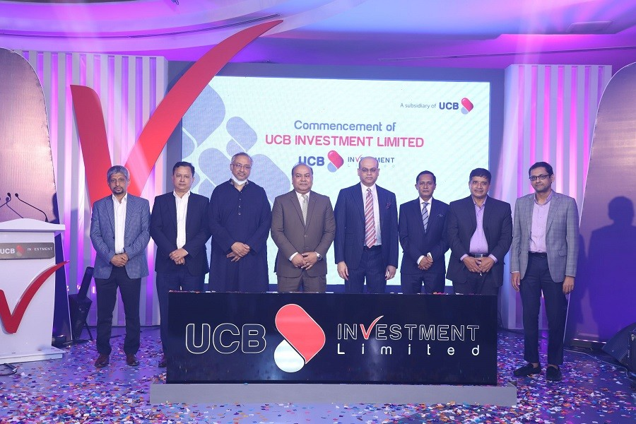 Chairman of Bangladesh Securities & Exchange Commission Professor Shibli Rubayat Ul Islam is inaugurating UCB Investment Limited, a subsidiary of United Commercial Bank Limited as Chief Guest along with Special Guests Mr. Anisuzzaman Chowdhury Ronny, Chairman of Executive Committee of UCB; Professor Dr. Md. Jonaid Shafiq, Director of UCB and Mr. Mohammed Shawkat Jamil, Managing Director, UCB.