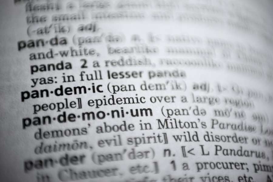 """In this Saturday, November 21, 2020, photo the word """"pandemic"""" is displayed in a dictionary in Washington – AP Photo"""