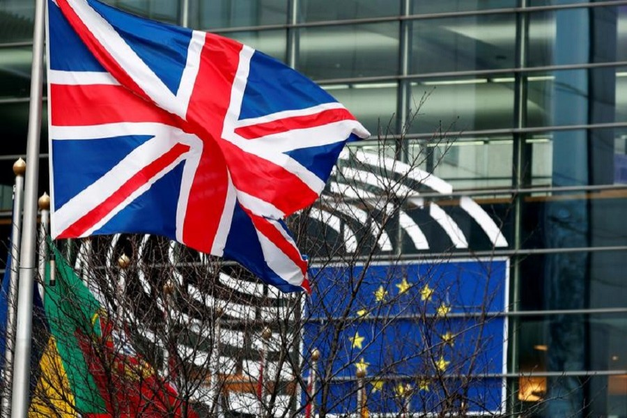 A British Union Jack flag flutters outside the European Parliament in Brussels, Belgium, January 30, 2020 — Reuters/Files