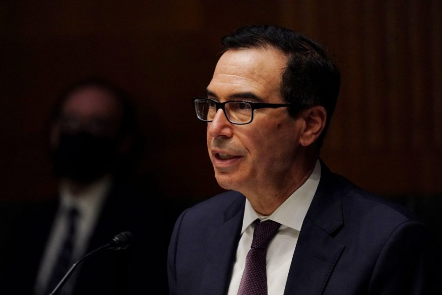 Steven T. Mnuchin, Secretary, Department of the Treasury during the Senate's Committee on Banking, Housing, and Urban Affairs hearing examining the quarterly CARES Act report to Congress, in Washington, DC, US, September 24, 2020. Toni L. Sandys/Pool via REUTERS/File Photo