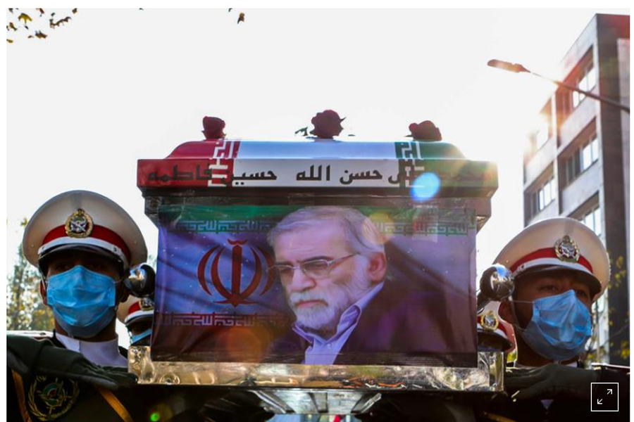 FILE PHOTO: Members of Iranian forces carry the coffin of Iranian nuclear scientist Mohsen Fakhrizadeh during a funeral ceremony in Tehran, Iran November 30, 2020. Iranian Defense Ministry/ WANA (West Asia News Agency)/Handout via REUTERS