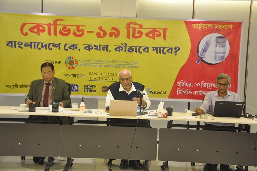 """Dr Debapriya Bhattacharya, distinguished fellow of the Centre for Policy Dialogue (CPD), speaking at virtual dialogue on """"Access to Covid-19 Vaccine in Bangladesh: Who, When and How?"""" in the city on Sunday"""
