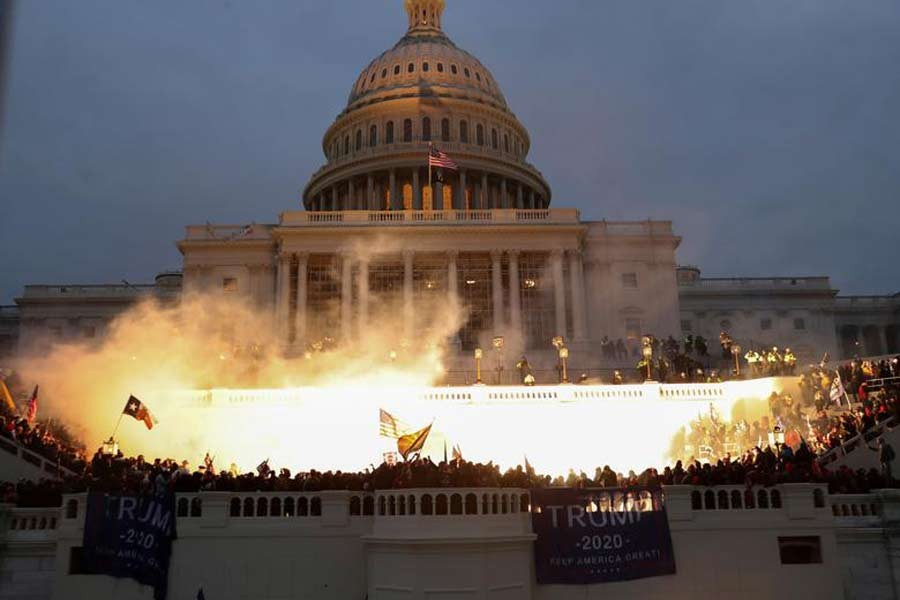 An explosion caused by a police munitions at the Capitol Building in the United States on January 6 –Reuters file photo