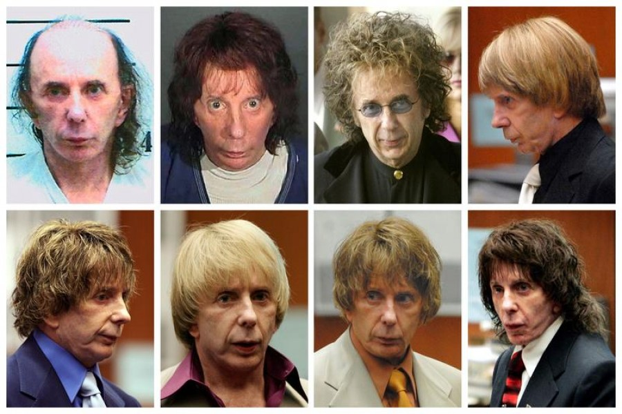 Music producer Phil Spector is pictured wearing a variety of wigs during his murder trial in this combination image made from file photos. Spector, 69, was sentenced to at least 19 years in prison for the 2003 murder of a Hollywood actress and could spend the rest of his life behind bars – Reuters/Files