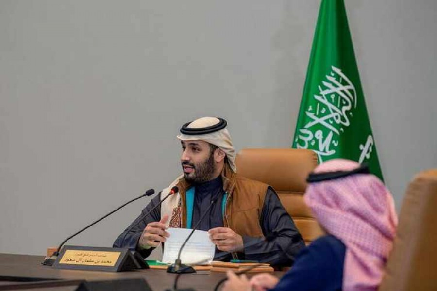 Saudi Crown Prince Mohammed bin Salman speaks during a meeting to Launch Public Investment Fund Strategy 2021-2025, in Riyadh, Saudi Arabia on January 24, 2021 — Saudi Press Agency/Handout via REUTERS