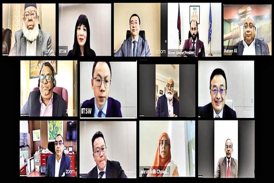 BIAC Board Chairman Mahbubur Rahman (top, left), BIAC CEO Muhammad A (Rumee) Ali, DCCI President Rizwan Rahman and IITSW Director Zhang Jingmei, among others, taking part in a webinar on Monday