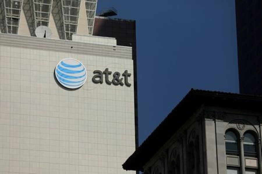 The AT&T logo is pictures on a building in Los Angeles, California, US August 10, 2017 — Reuters/Files