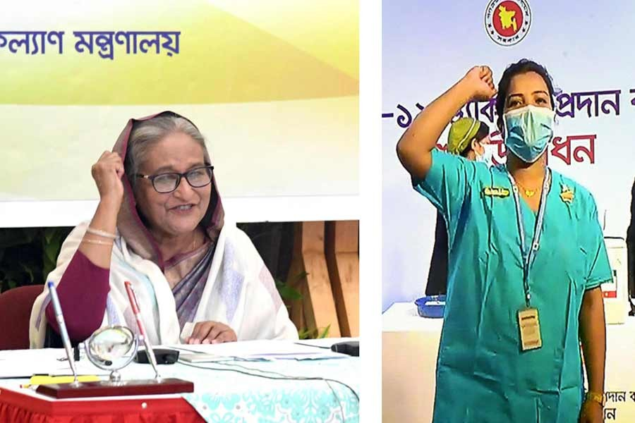 Prime Minister Sheikh Hasina inaugurating the COVID-19 vaccination programme through a videoconference from Ganabhaban on Wednesday –PID Photo