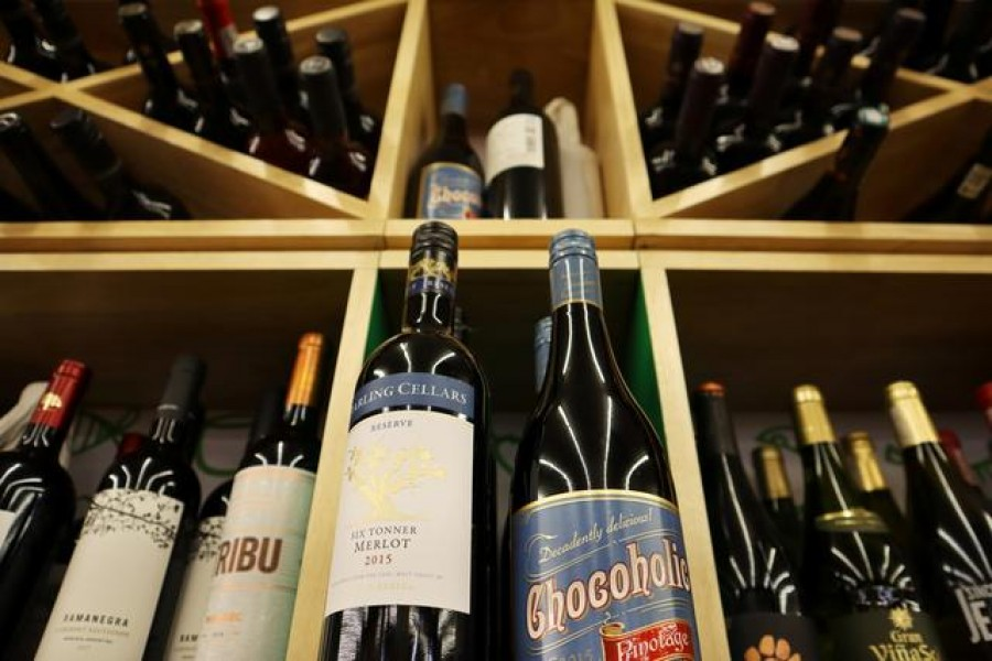 Bottles of South African wine are displayed among others at a supermarket in Beijing, China February 4, 2021. Picture taken February 4, 2021. REUTERS/Florence Lo