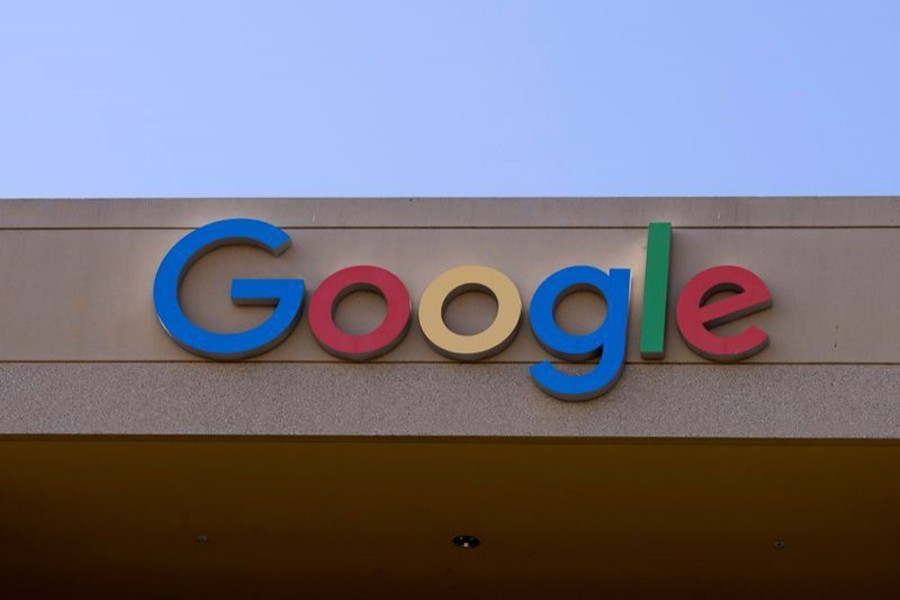 The Google sign is shown on one of the company's office buildings in Irvine, California, US on October 20, 2020 — Reuters/Files