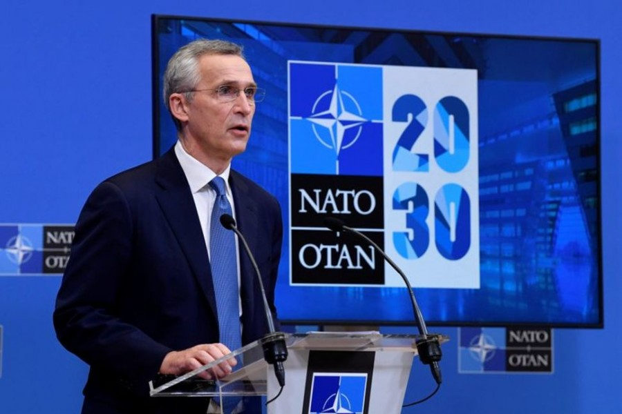 NATO Secretary General Jens Stoltenberg addresses a news conference following a virtual meeting of defence ministers at NATO headquarters in Brussels, Belgium, February 17, 2021 — Reuters
