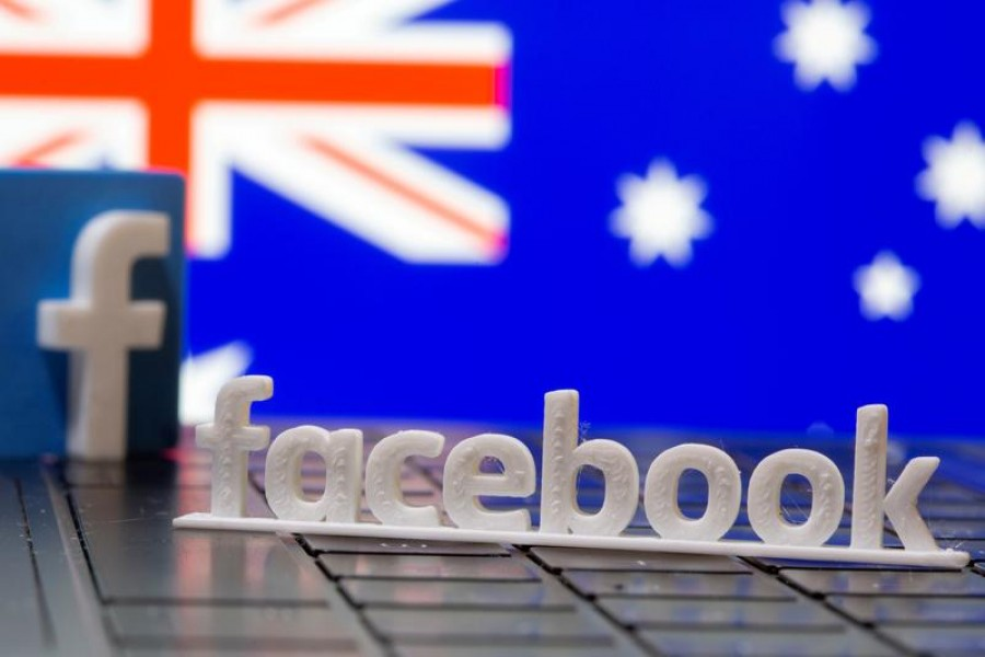 A 3D printed Facebook logo is seen in front of displayed Australia's flag in this illustration photo taken February 18, 2021 — Reuters/Files