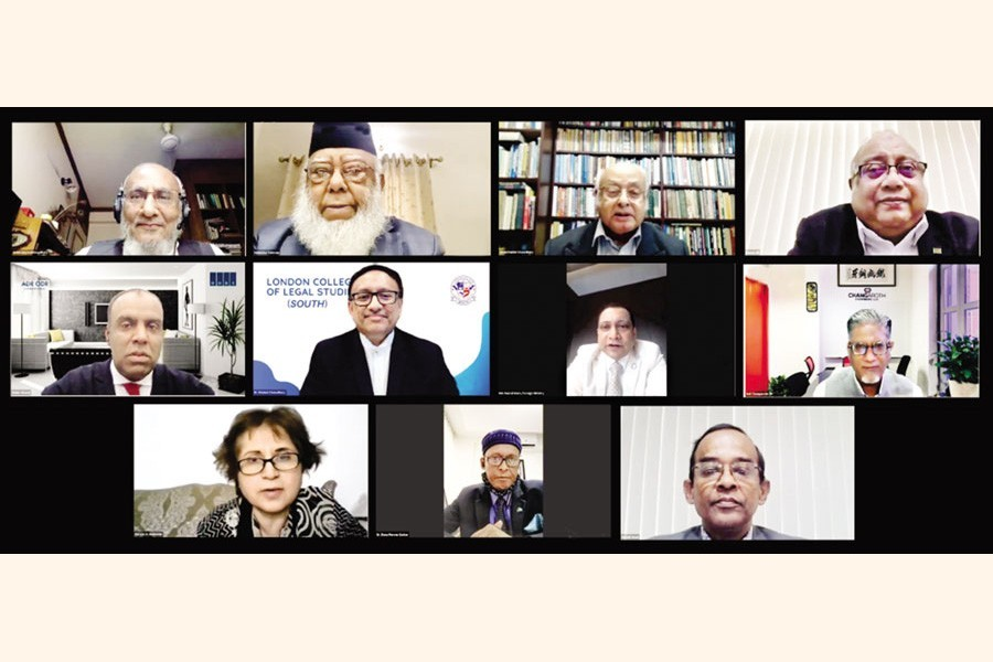 Former adviser to a caretaker government Abdul Muyeed Chowdhury (top, left), Bangladesh International Arbitration Centre (BIAC) Board chairman Mahbubur Rahman (top, 2nd from left), BIAC CEO Muhammad A (Rumee) Ali (top, right) and other distinguished persons at a webinar organised by BIAC on Monday