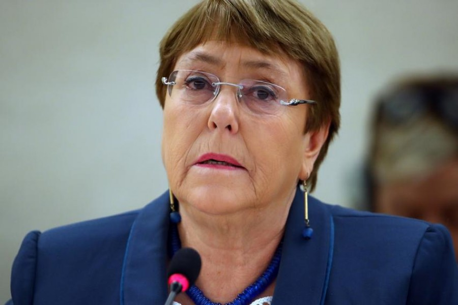 FILE PHOTO: United Nations High Commissioner for Human Rights Michelle Bachelet attends a session of the Human Rights Council at the United Nations in Geneva, Switzerland, February 27, 2020. REUTERS/Denis Balibouse/File Photo