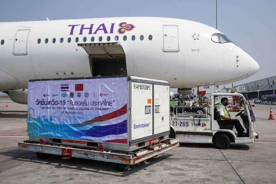 A container with Sinovac COVID-19 vaccines arrives at Bangkok's Suvarnabhumi International Airport on Wednesday. REUTERS
