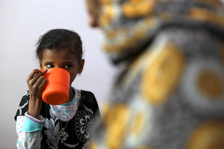 Ahmadiya Juaidi, 13, drinks a supplemental nutrition shake at malnutrition treatment ward of al-Sabeen hospital in Sanaa, Yemen on February 24, 2021 — Reuters photo