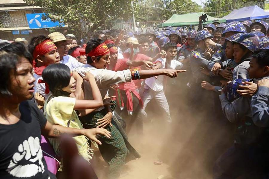 Woman killed as Myanmar police crack down on protests