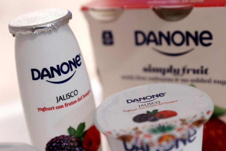 Danone products displayed before the French food group's 2019 annual results presentation in Paris, France, February 26, 2020 — Reuters/Files