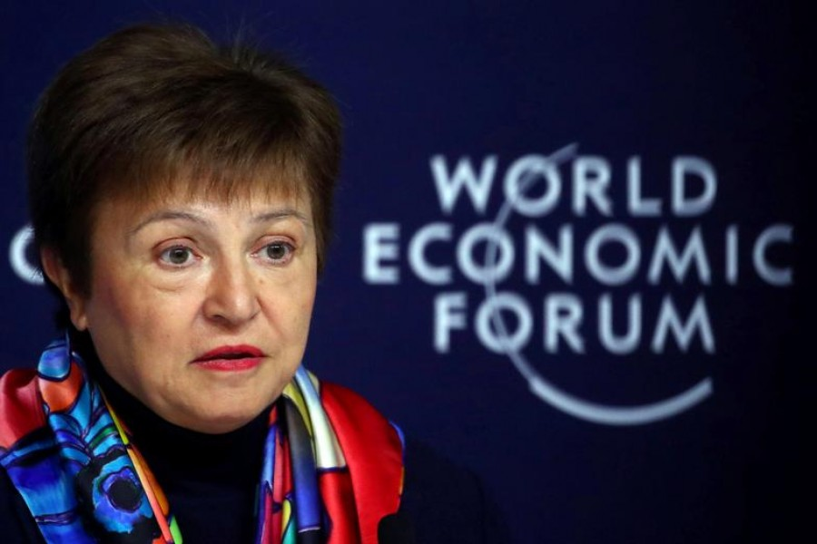 FILE PHOTO: IMF Managing Director Kristalina Georgieva speaks at a news conference ahead of the World Economic Forum (WEF) in Davos, Switzerland January 20, 2020. REUTERS/Denis Balibouse/File Photo