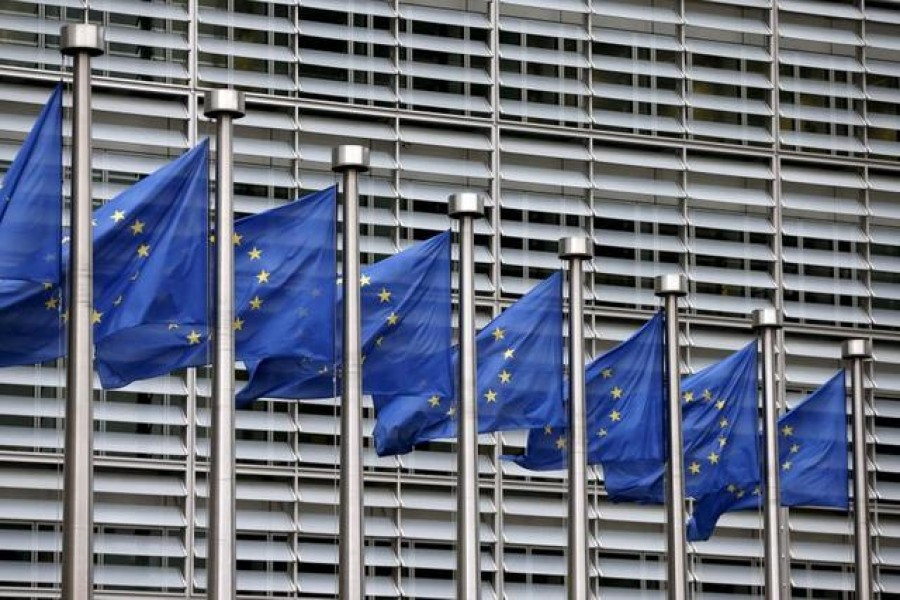FILE PHOTO: European Union flags flutter outside the EU Commission headquarters in Brussels, Belgium, in this file picture taken October 28, 2015. REUTERS/Francois Lenoir