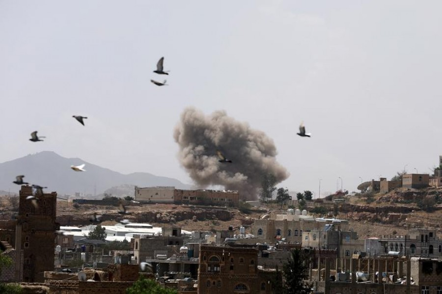 Representational image: Dust rises from the site of a Saudi-led air strike in Sanaa, Yemen, March 30, 2020 — Reuters