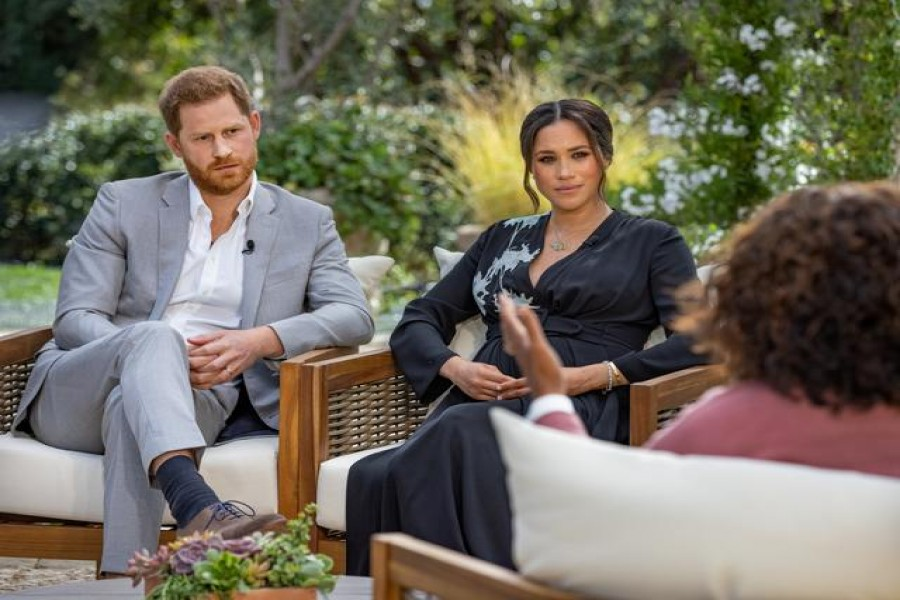Britain's Prince Harry and Meghan, Duchess of Sussex, are interviewed by Oprah Winfrey in this undated handout photo. Harpo Productions/Joe Pugliese/Handout via REUTERS