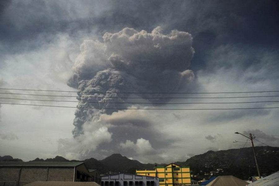 Caribbean residents wake to ash-covered streets, rumbling volcano