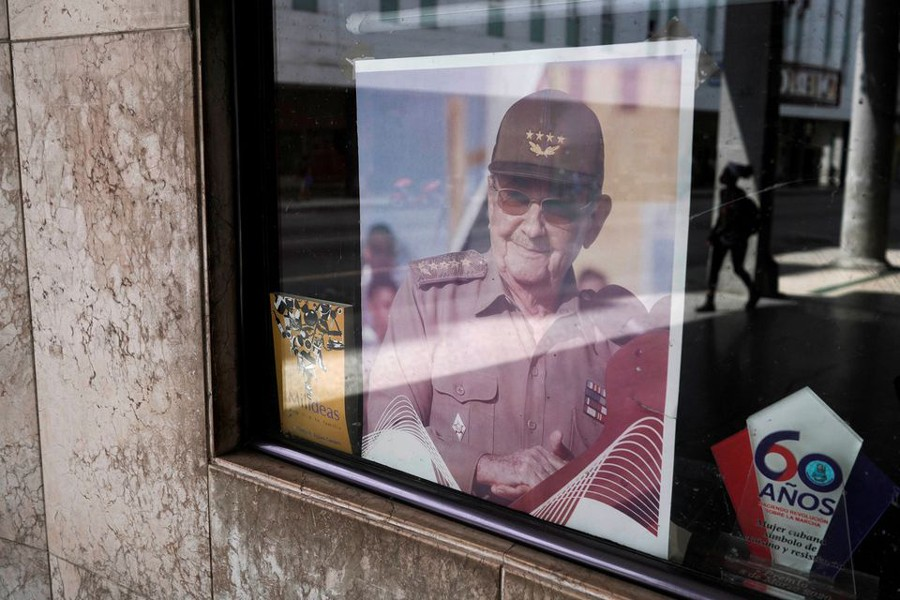 A picture of former Cuban President Raul Castro is displayed in the window of a state building in Havana, Cuba on April 11, 2021 — Reuters/Files