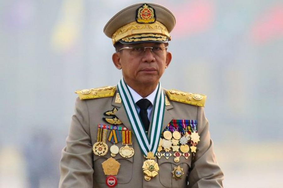 Myanmar's junta chief Senior General Min Aung Hlaing, who ousted the elected government in a coup on February 1, presides an army parade on Armed Forces Day in Naypyitaw, Myanmar, March 27, 2021. REUTERS/Stringer