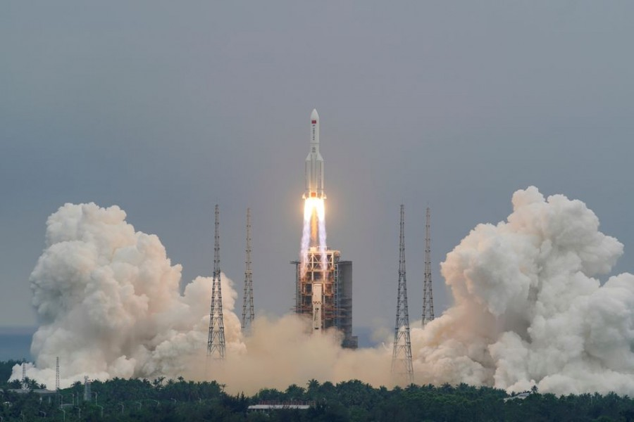 The Long March-5B Y2 rocket, carrying the core module of China's space station Tianhe, takes off from Wenchang Space Launch Center in Hainan province, China on April 29, 2021 — China Daily via Reuters