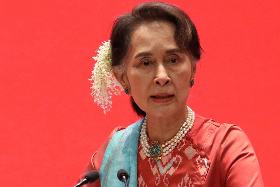 Myanmar's ousted leader Aung San Suu Kyi seen in this undated Reuters photo
