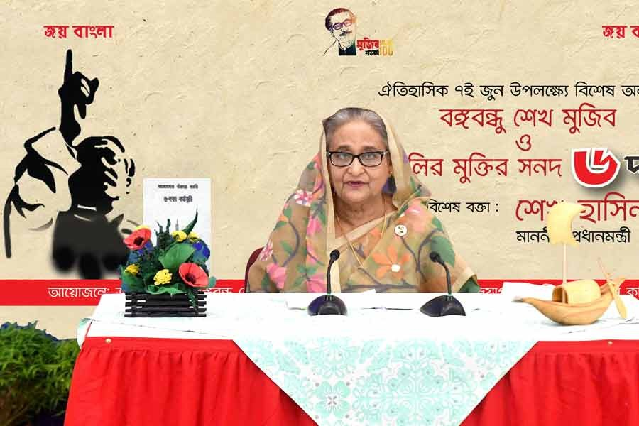Prime Minister Sheikh Hasina addressing a special discussion on Monday marking the historic Six-Point Demand Day –PID Photo