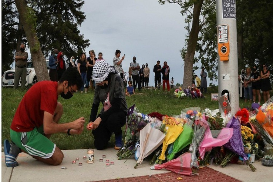 A makeshift memorial for the victims was set up at the scene of the attack - Reuters photo