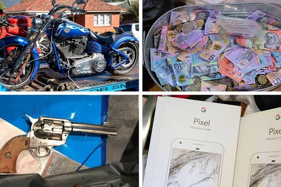 Items seized in the sting included motorbikes and money. Photo: Australian Federal Police