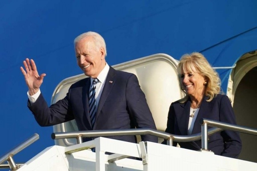 US President Joe Biden and first lady Jill Biden disembark from Air Force One as they arrive at RAF Mildenhall ahead of the G7 Summit, near Mildenhall, Britain June 9, 2021 — Reuters