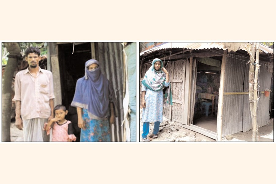 Jamal Miji with his family beside his worn- out house (left) in Faridganj upazila of Chandpur, and physically handicapped Parvin Begum beside her brother's worn-out house at Montola village under Subidpur (right) — FE Photos