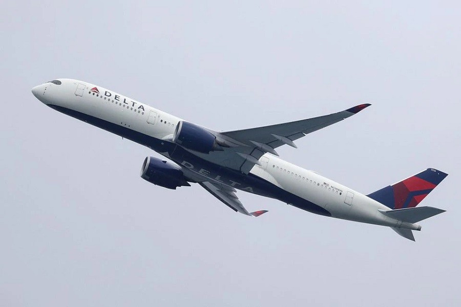 A Delta Air Lines Airbus A350-900 plane takes off from Sydney Airport in Sydney, Australia, October 28, 2020 — Reuters/Files