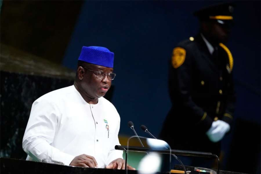 Sierra Leone's President Julius Maada Bio addresses the 74th session of the United Nations General Assembly at UN headquarters in New York on September 26 in 2019 -Reuters file photo