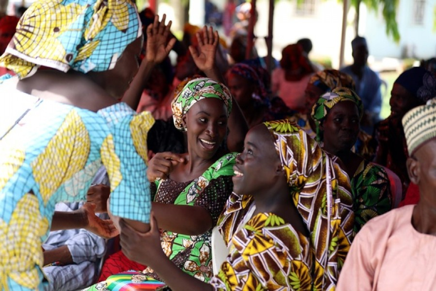 82 Chibok school girls reunite with their families in Abuja, Nigeria May 20, 2017. REUTERS