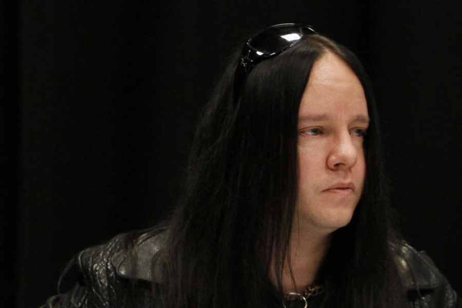 FILE - Slipknot band member Joey Jordison participates in a news conference about the death of bassist Paul Gray on May 25, 2010, in Des Moines, Iowa.  (AP Photo/Charlie Neibergall, File)