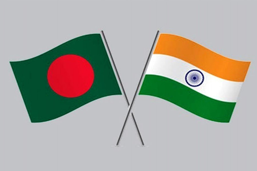 Flags of Bangladesh and India are seen cross-pinned in the image, symbolising friendship between the two nations