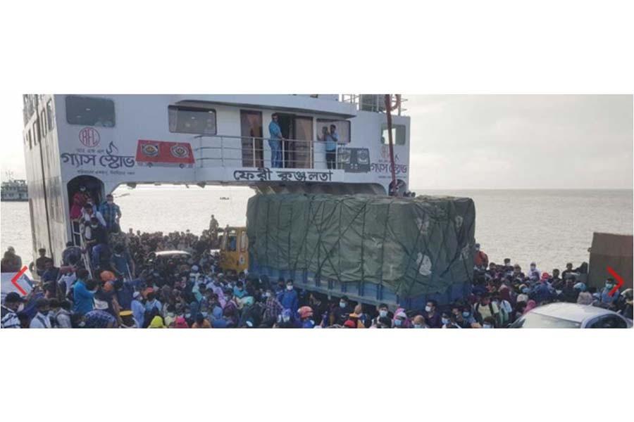 Dhaka-bound travellers crowd ferry terminals as factories resume in lockdown
