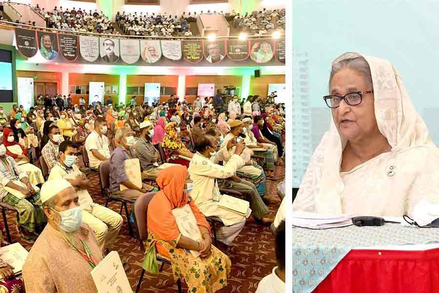 Prime Minister Sheikh Hasina addressing an inaugural programme of over 300 apartments, constructed for slum residents in Mirpur, through a videoconference from Ganabhaban on Tuesday -PID Photo