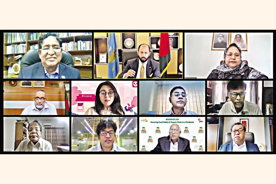 (Top, from left) Agriculture Minister Dr. Muhammad Abdur Razzaque, DCCI President Rizwan Rahman, Food Secretary Dr. Mosammat Nazmanara Khanum and other distinguished persons take part in a webinar on 'Ensuring food safety and supply chain in a pandemic' organised by Dhaka Chamber of Commerce & Industry (DCCI) on Wednesday