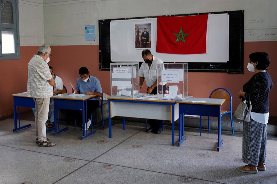 Voters wait at a polling station during parliamentary and local elections in Casablanca, Morocco on September 8, 2021 — Reuters photo
