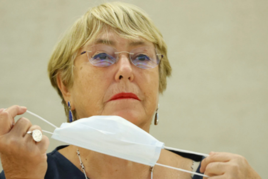 UN High Commissioner for Human Rights Michelle Bachelet attends a session of the Human Rights Council at the United Nations in Geneva, Switzerland, September 13, 2021. REUTERS/Denis Balibouse