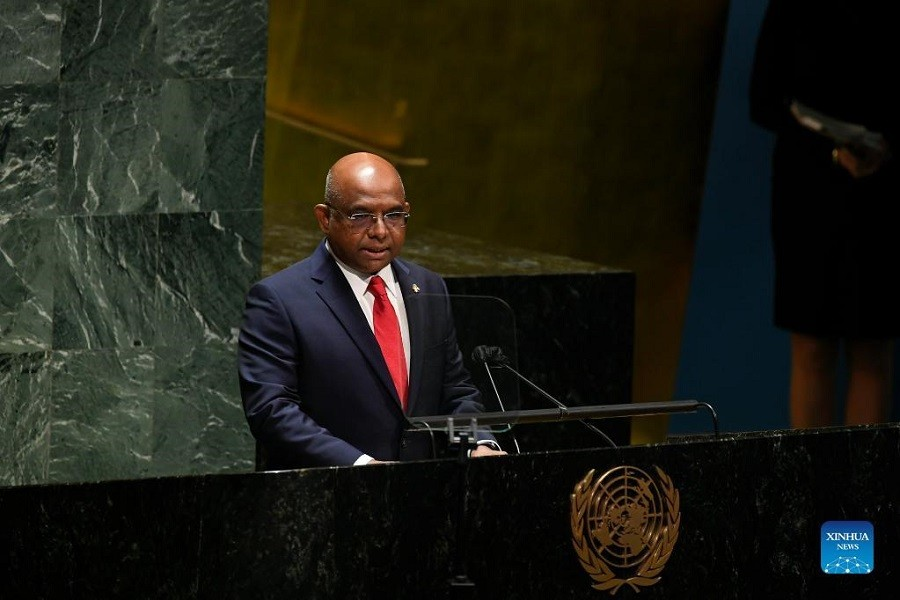 Abdulla Shahid, President of the 76th session of the United Nations General Assembly (UNGA), addresses the 1st plenary and opening meeting of the 76th UNGA session at the UN headquarters in New York, Sept. 14, 2021 – Evan Schneider/UN Photo/Handout via Xinhua