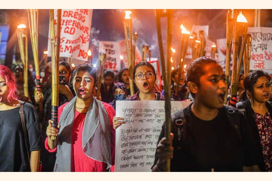 Women in Dhaka at a rally protesting violence against women